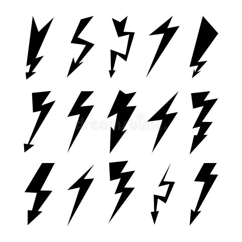 Błyskawicowy ikona set Elektryczność grzmot, niebezpieczeństwo symbol czarny photoshop tła stworzył pojedynczy piorun uderzenie B ilustracja wektor