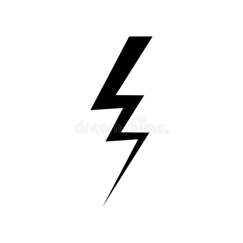 Błyskawicowy ikona wektor Prosty płaski symbol Perfect Czarna piktogram ilustracja na białym tle ilustracja wektor