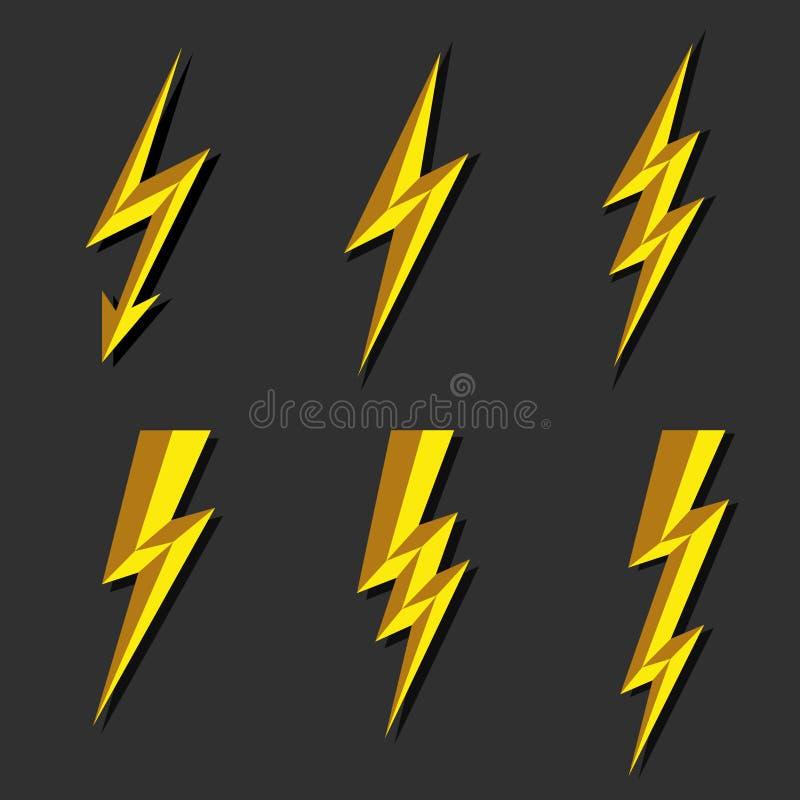 Błyskawicowy piorun ikony wektor Błyskowa symbol ilustracja Oświetleniowe Błyskowe ikony Ustawiać Mieszkanie styl na Ciemnym tle  royalty ilustracja