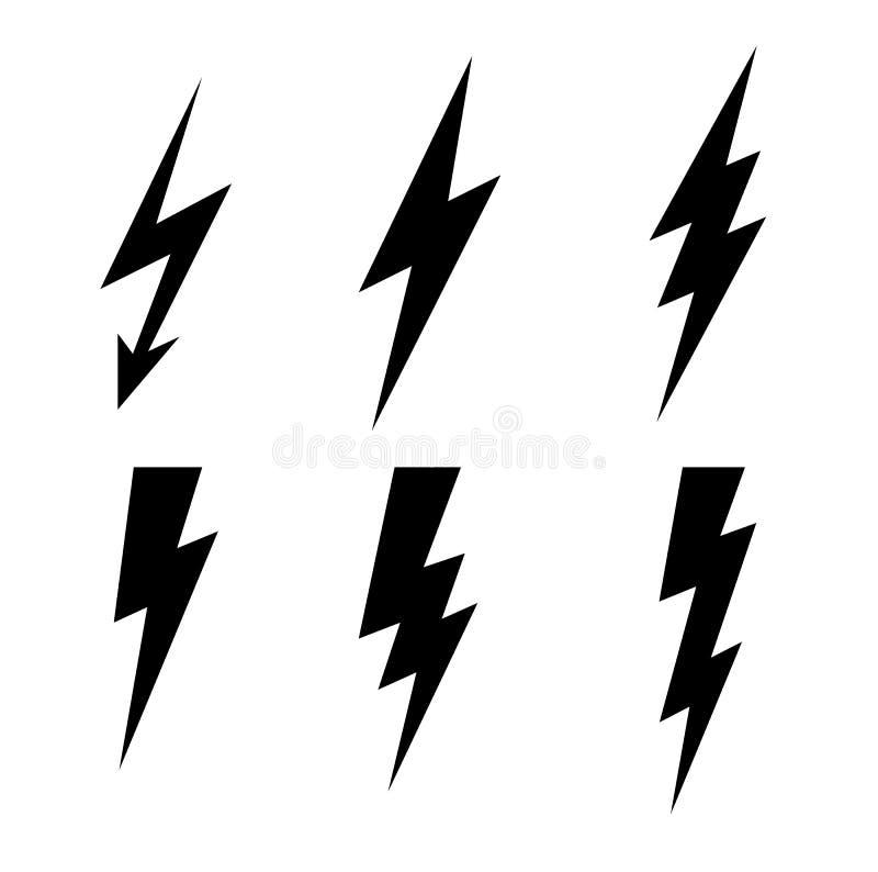 Błyskawicowy piorun ikony wektor Błyskowa symbol ilustracja Oświetleniowe Błyskowe ikony Ustawiać Mieszkanie styl na Ciemnym tle  ilustracji