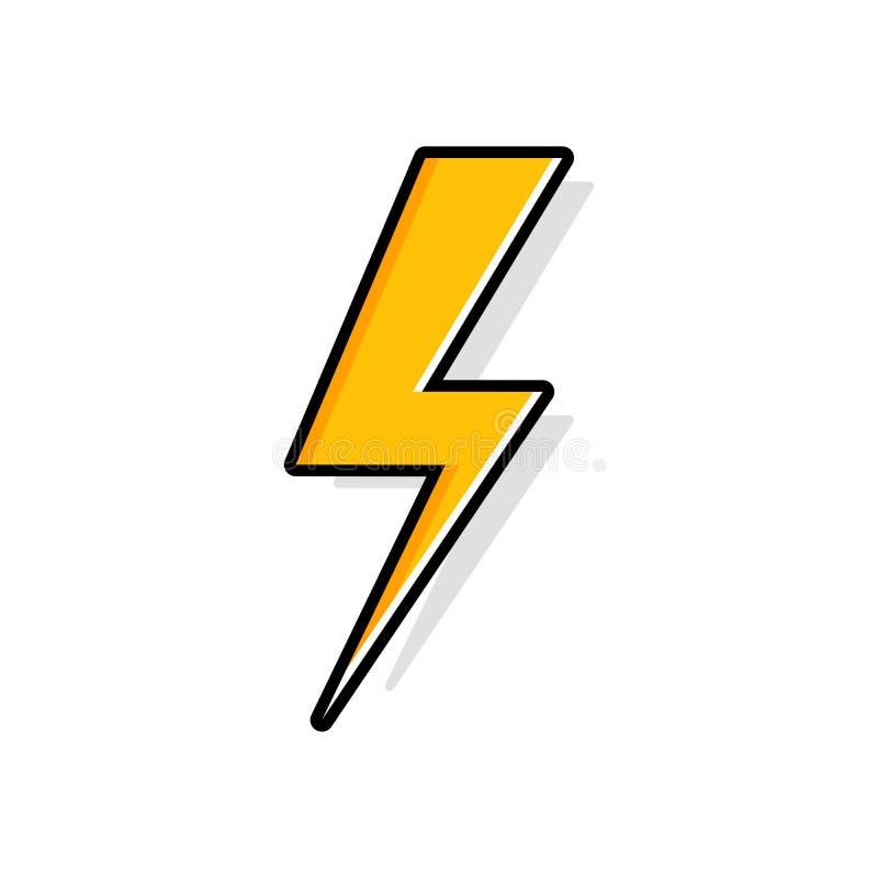 Błyskawicowy rygiel, grzmotu rygiel, zaświeca strajkowej wiedzy specjalistycznej płaską wektorową ikonę ilustracji