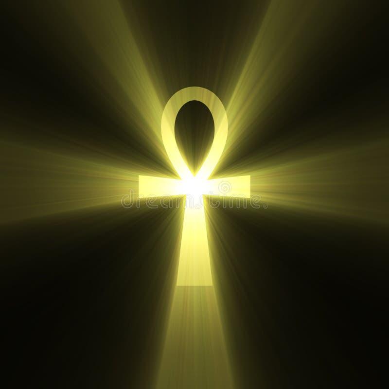 błyski światła ankh egipski symbol życia ilustracja wektor