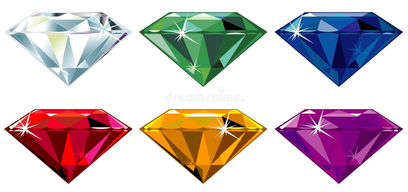 błyskotanie rżnięci diamentowi cenni kamienie ilustracji