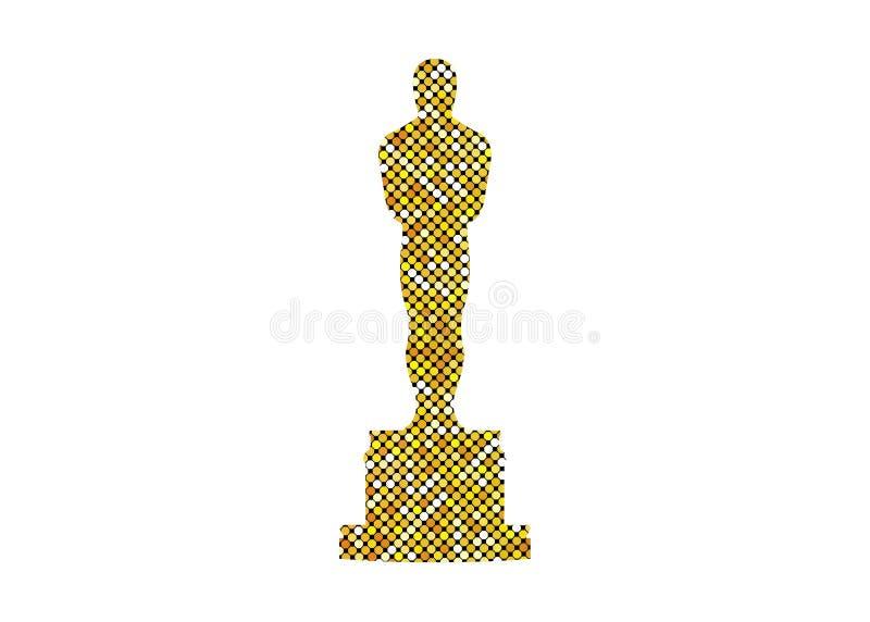 Błyskotliwi złoci abstrakcjonistyczni ludzie ikony odizolowywającej, złocista sylwetki statuy ikona Filmy i kinowy symbolu zapas ilustracja wektor