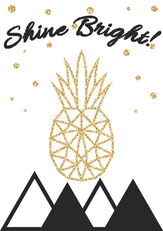Błyskotliwość migotliwy ananasowy druk z połyskiem jaskrawym ilustracji