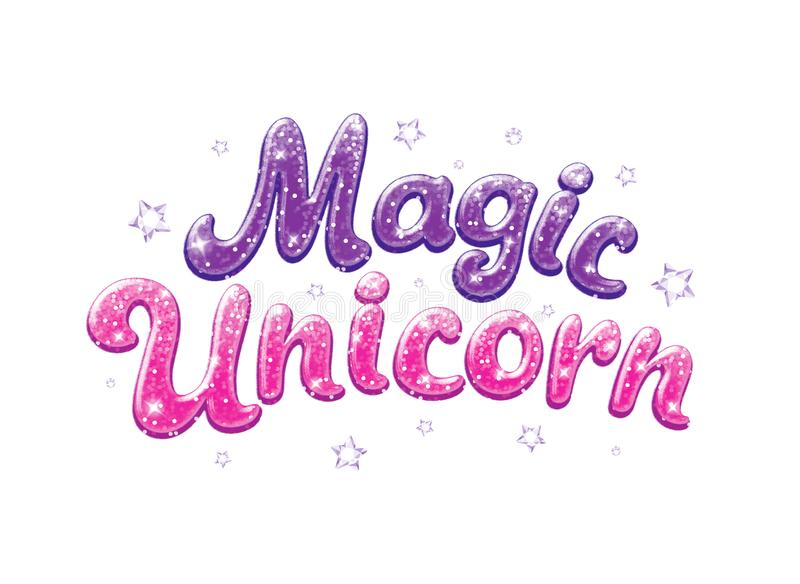 Błyskotliwość teksta magii jednorożec Rysujący dla dzieciaków odziewa, koszulki, tkaniny lub pakować, Fiołka i menchii słowa z bł ilustracja wektor