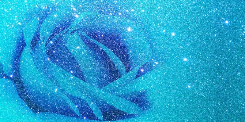 Błyskotliwość z róży błękita tłem ilustracja wektor