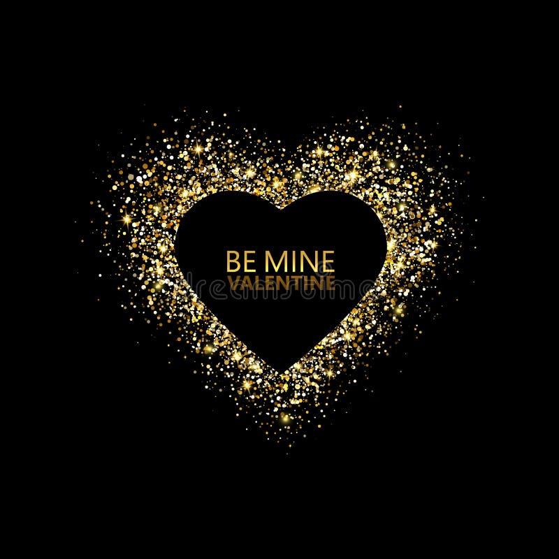 Błyskotliwości serca rama tła dzień szczęśliwi valentines Rozjarzony złocisty strumień confetti cząsteczki karciany jest mój vale royalty ilustracja