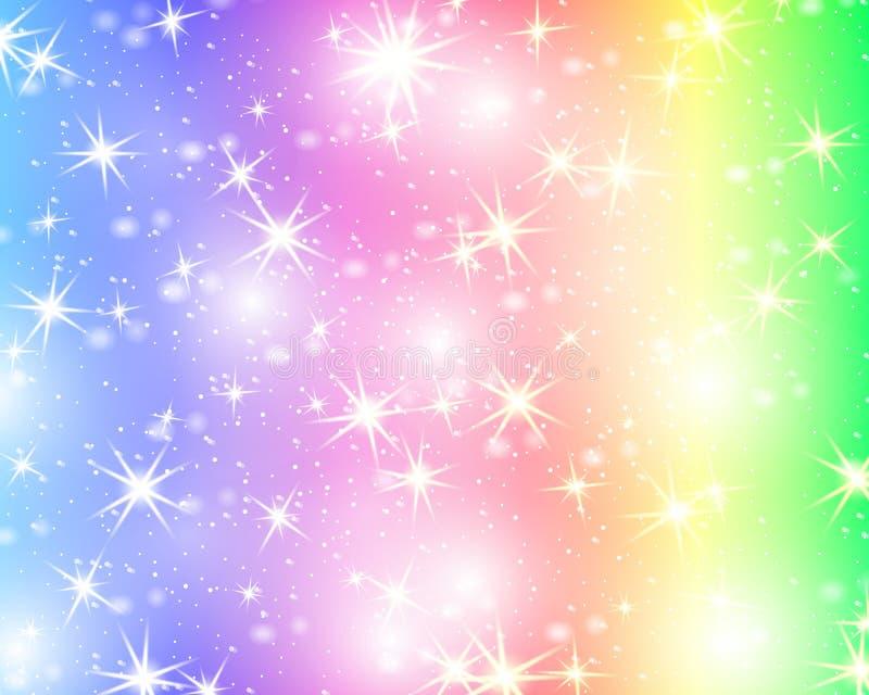 Błyskotliwości tęczy gwiazdowy tło Gwiaździsty niebo w pastelowym kolorze Jaskrawy syrenka wzór Jednorożec kolorowe gwiazdy royalty ilustracja