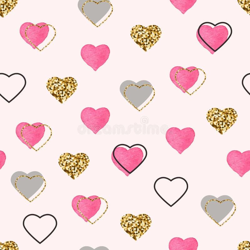 Błyskotliwości złoto i akwareli różowych serc bezszwowy wzór Walentynka dnia tło Jaskrawi doodle serca confetti royalty ilustracja