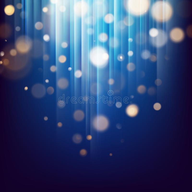 Błyskotliwości złoto zaświeca abstrakcjonistyczne cząsteczki Defocused bokeh na ciemnej świątecznej abstrakcjonistycznej teksturz royalty ilustracja