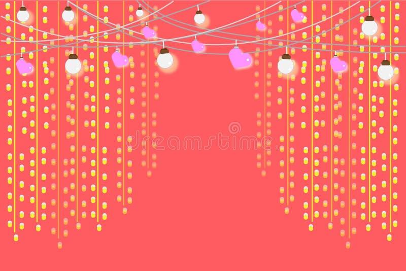 Błyskotliwy kółkowy złocisty jaskrawy i różowy serce Na słodkim tle royalty ilustracja