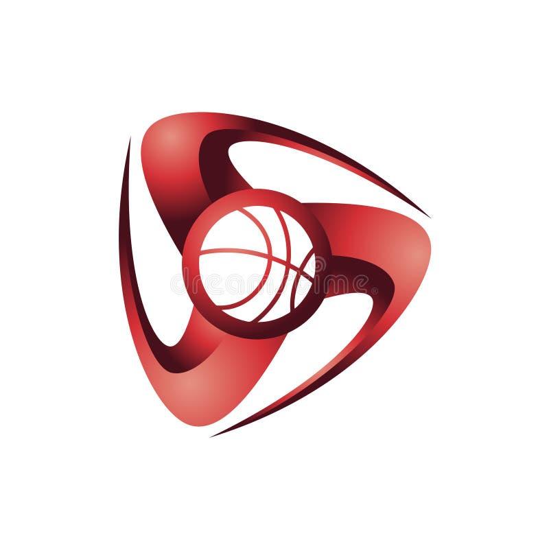 Błyskowa 3D koszykówki sporta klubu logo Turniejowa ikona ilustracja wektor