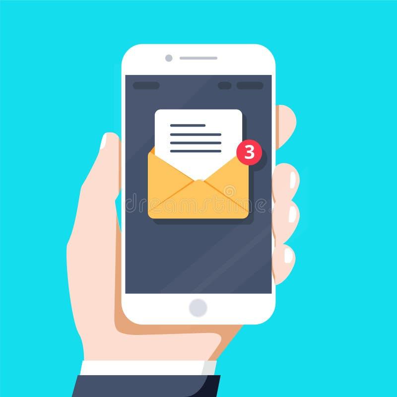 Błyskowa projekta stylu ręka trzyma smartphone z e-mailowym zastosowaniem na ekranie, wektorowy projekt royalty ilustracja