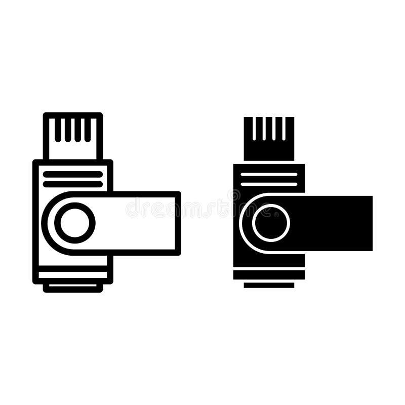 Błyskowa prowadnikowa linia i glif ikona Usb pamięci wektorowa ilustracja odizolowywająca na bielu Składowy konturu stylu projekt royalty ilustracja