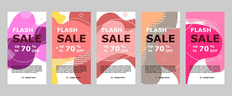 Błyskowego sprzedaż sztandaru mobilny app i instagram ilustracji