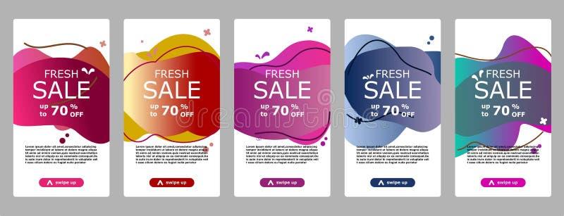 Błyskowego sprzedaż sztandaru mobilny app i instagram ilustracja wektor