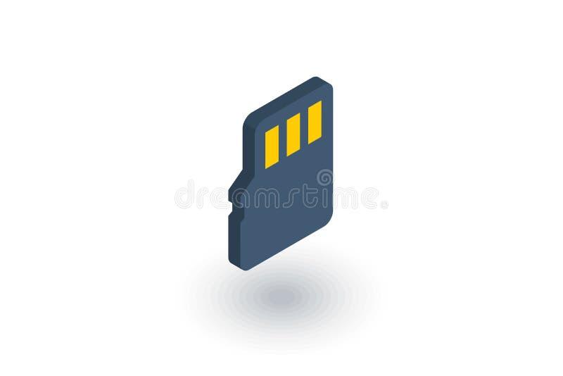 Błyskowej pamięci SD karciana isometric płaska ikona 3d wektor ilustracji