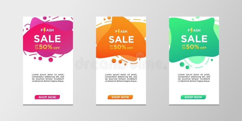 Błyskowi sprzedaż sztandary z abstrakcjonistycznym dynamicznym nowożytnym ciekłym kolorem Sprzedaż sztandaru szablonu projekt, mo ilustracja wektor