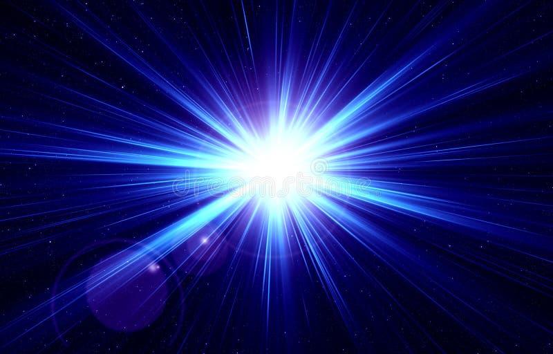 Błyskowy światło na gwiaździstym niebie, wybuch gwiazda, błękita światło, nocy gwiaździsty niebo, przestrzeń, gwiazda, lekki skut royalty ilustracja