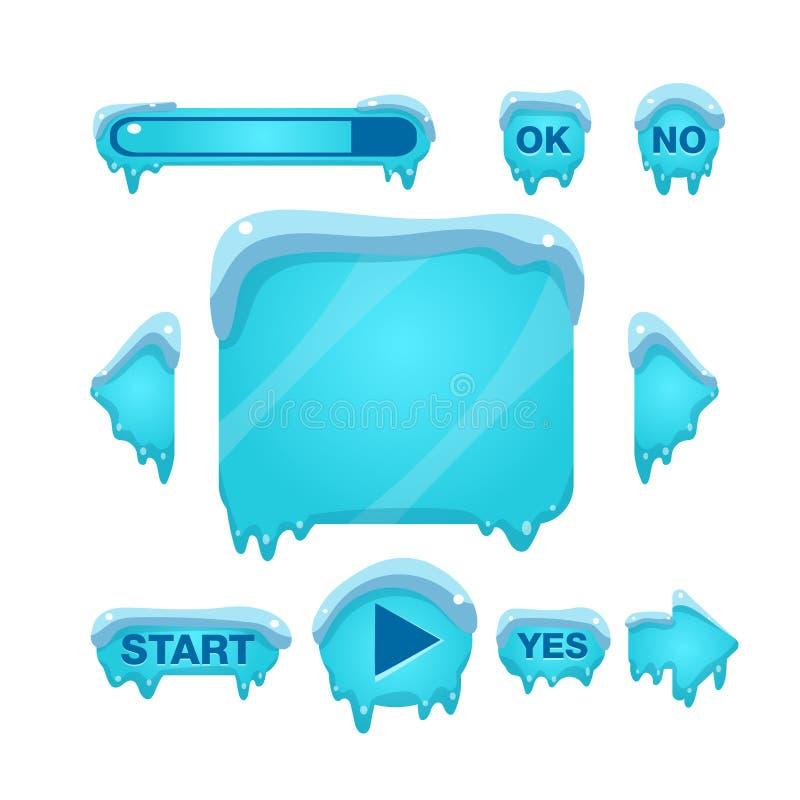 Błyskowy gra ekran, guziki Zakrywający Z lodem I ilustracji