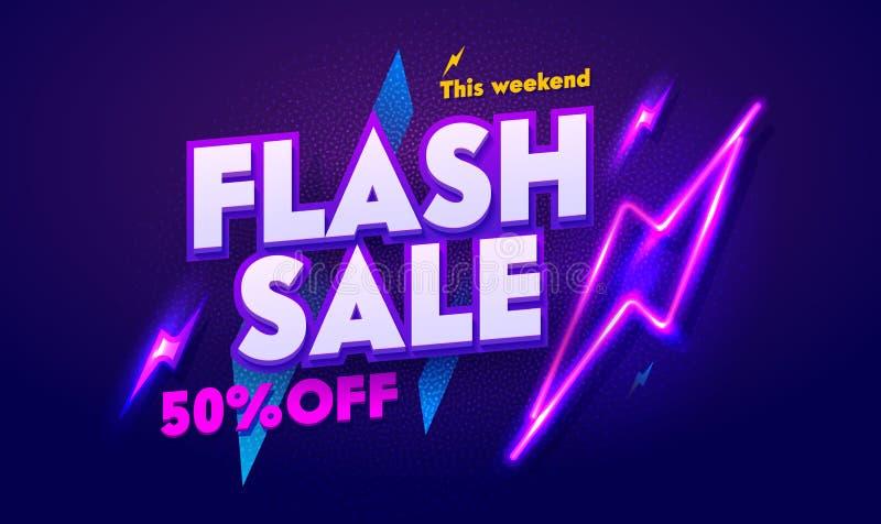 Błyskowy sprzedaży Neonowego światła typografii sztandar Dyskontowej nocy reklamy łuny Elektryczny billboard 3d Glansowany Plakat ilustracji