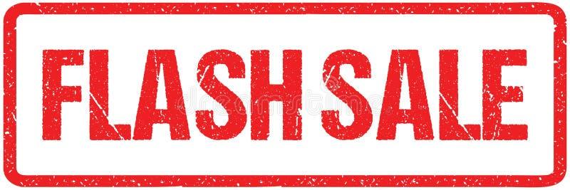 Błyskowych sprzedaż Szorstkich listów Szyldowa typografia Odizolowywająca na bielu Czerwona atramentu Grunge pieczątka royalty ilustracja