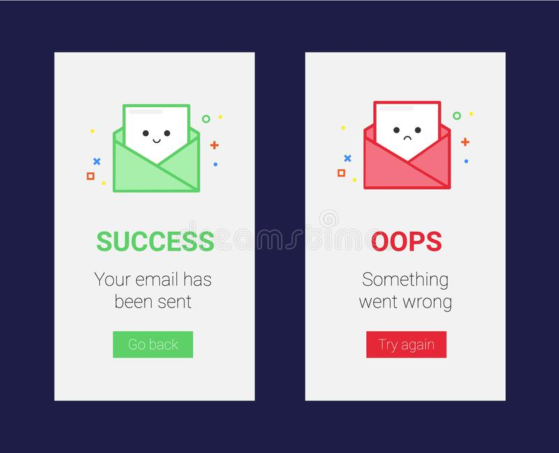 Błyskowych wiadomości wektorowy szablon dla sukcesu i niepowodzenia Szczęśliwego i smutnego emaila wektorowa ilustracja dla, ilustracji