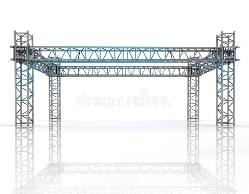 Błyszcząca błękitna struktury budowa z stalowymi kolumnami ilustracja wektor
