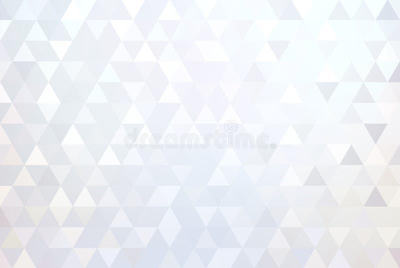 Błyszcząca biała geometryczna abstrakcjonistyczna tapeta Diamentowy kryształu wzór Lekkiej mozaiki subtelny tło nowoczesne projek ilustracja wektor