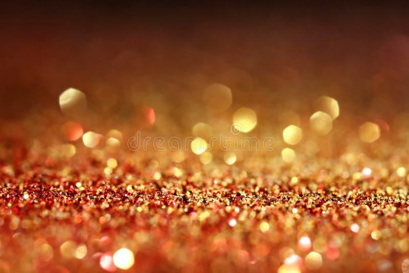 Błyszcząca czerwień i złote błyskotliwość, zbliżenie obraz royalty free