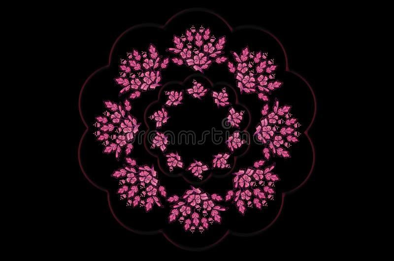 Błyszcząca falista rama z wiankiem bukiety magenta kwitnie z liśćmi na czarnym tle royalty ilustracja