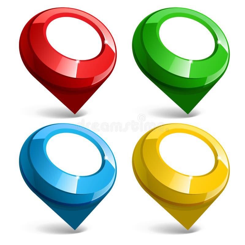 Błyszcząca glosy mapy pointeru ikona wektor ilustracji