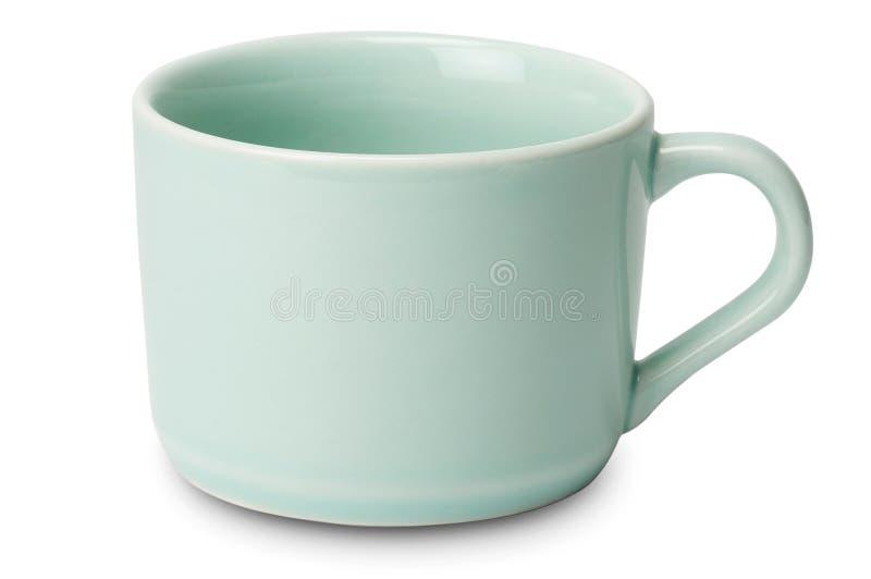 Błyszcząca pastelowa herbaciana filiżanka odizolowywająca na białym tle obrazy stock