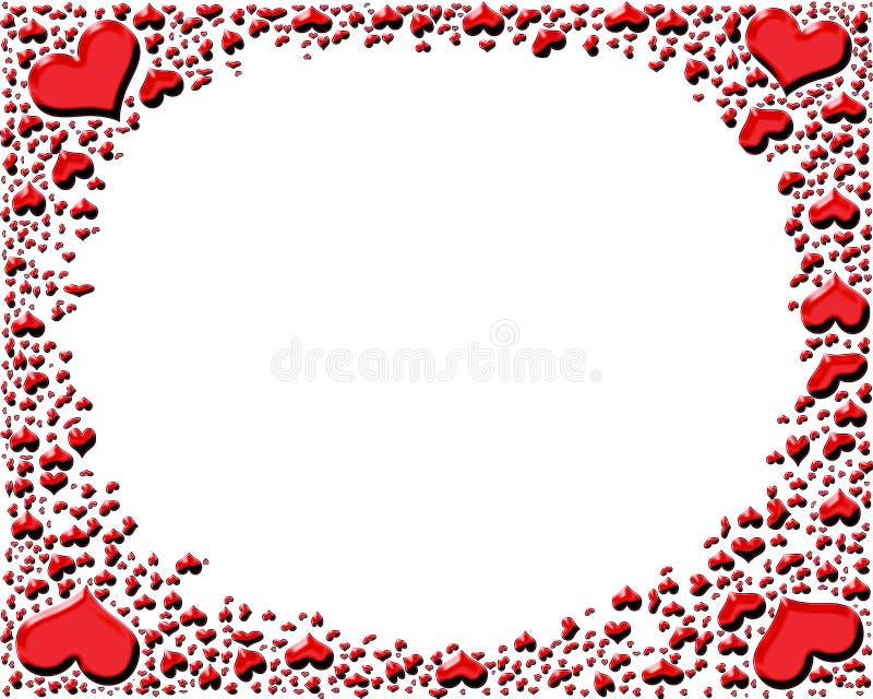 błyszcząca serce ramowa czerwień ilustracji
