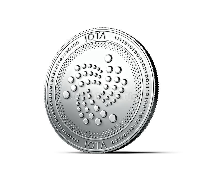 Błyszcząca srebna joty moneta odizolowywająca na białym tle świadczenia 3 d ilustracji