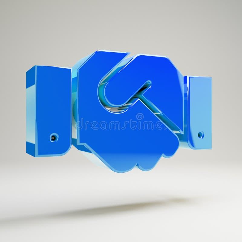 Błyszcząca, wielobarwna niebieska ikona uzgadniania wyizolowana na białym tle ilustracji