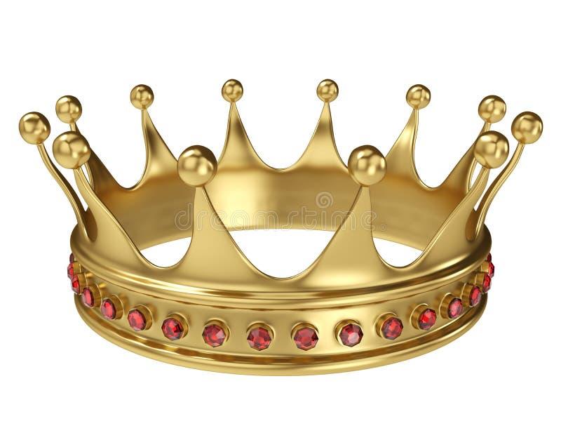Błyszcząca złocista korona dekorująca z cennymi klejnotami ilustracja wektor