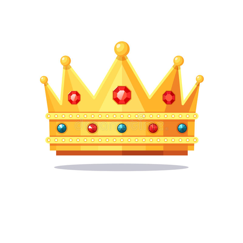Błyszcząca złocista korona zaskorupiająca się z klejnotami royalty ilustracja