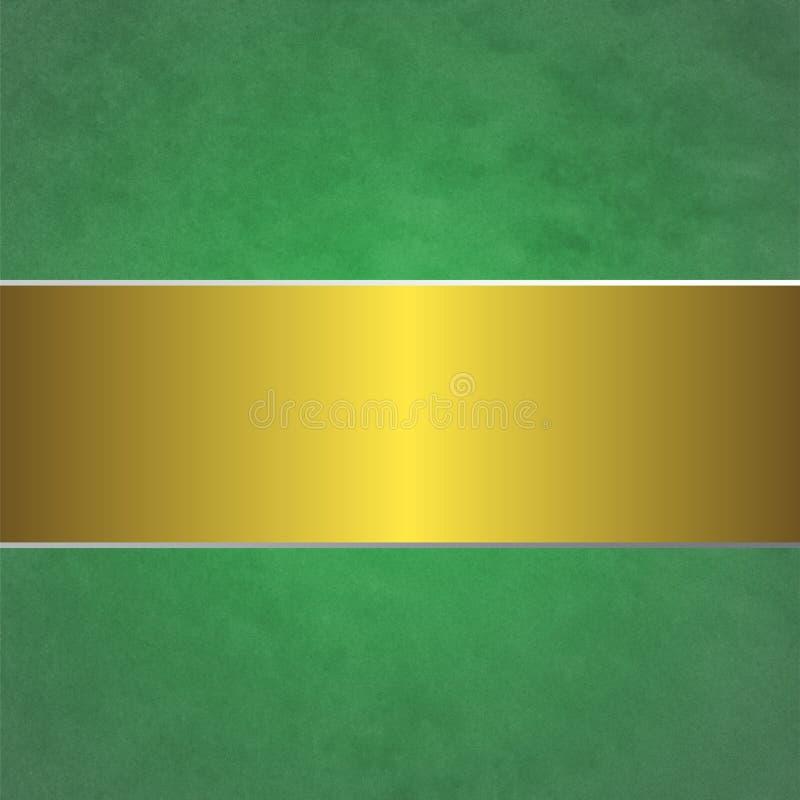 Błyszcząca Złota rama w Zielonym Grunge tapety tle ilustracja wektor