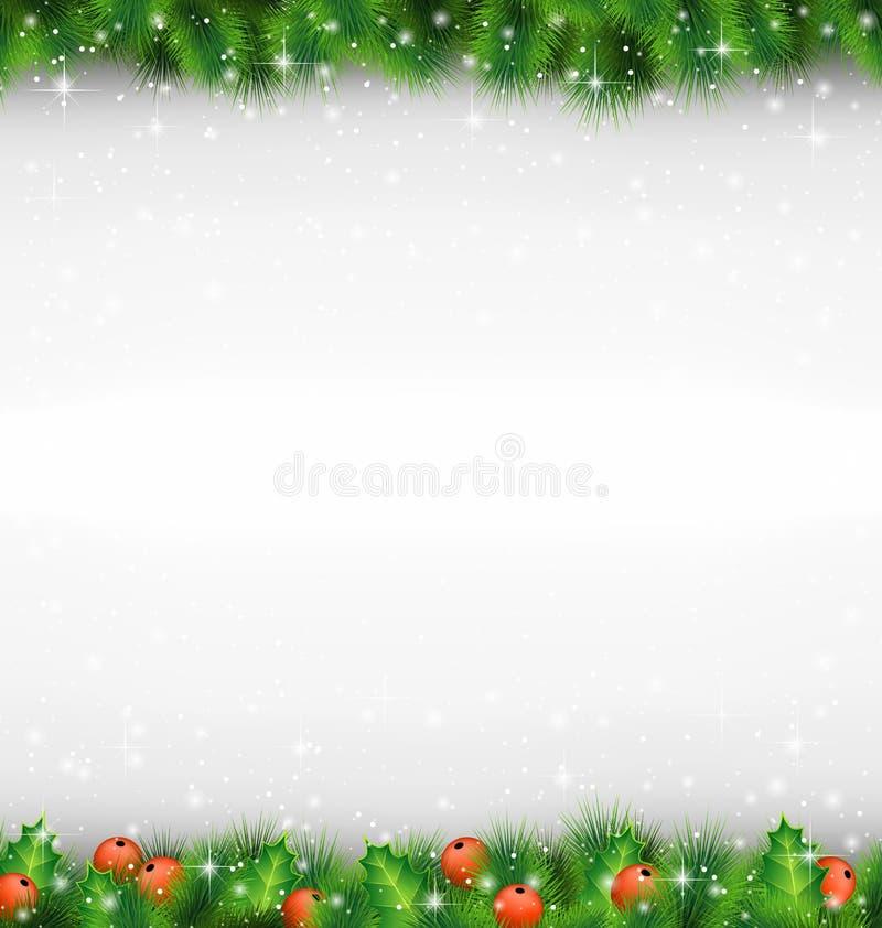 Błyszcząca zielona sosna rozgałęzia się jak rama z uświęconymi sprigs w snowfa royalty ilustracja