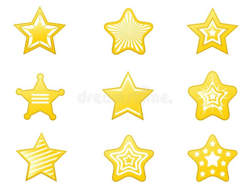 Błyszczące gwiazdowe ikony ustawiać royalty ilustracja