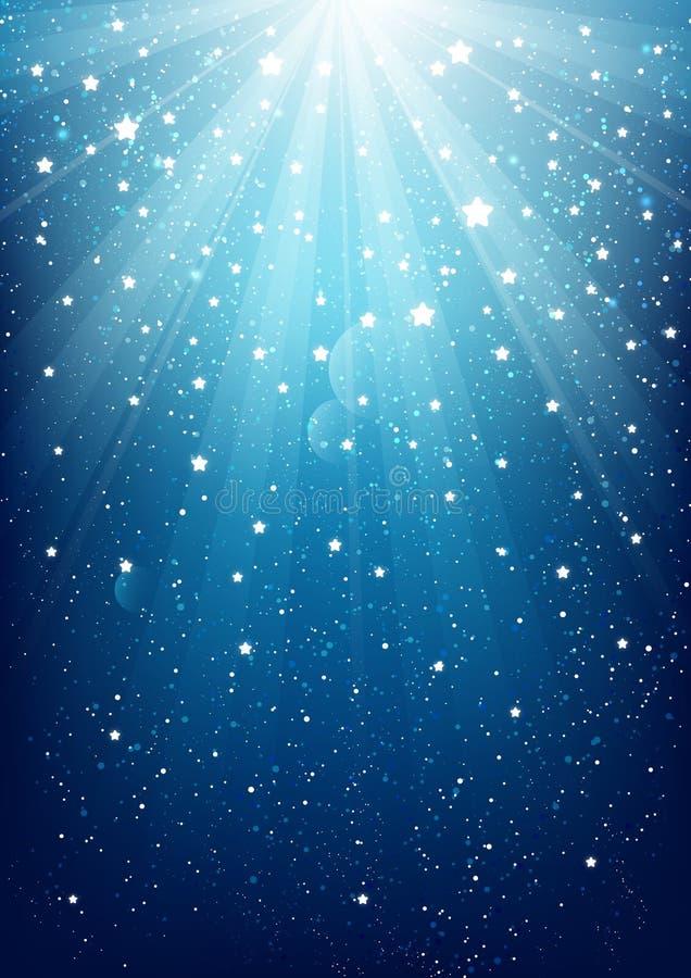 Błyszczące gwiazdy na błękicie ilustracji