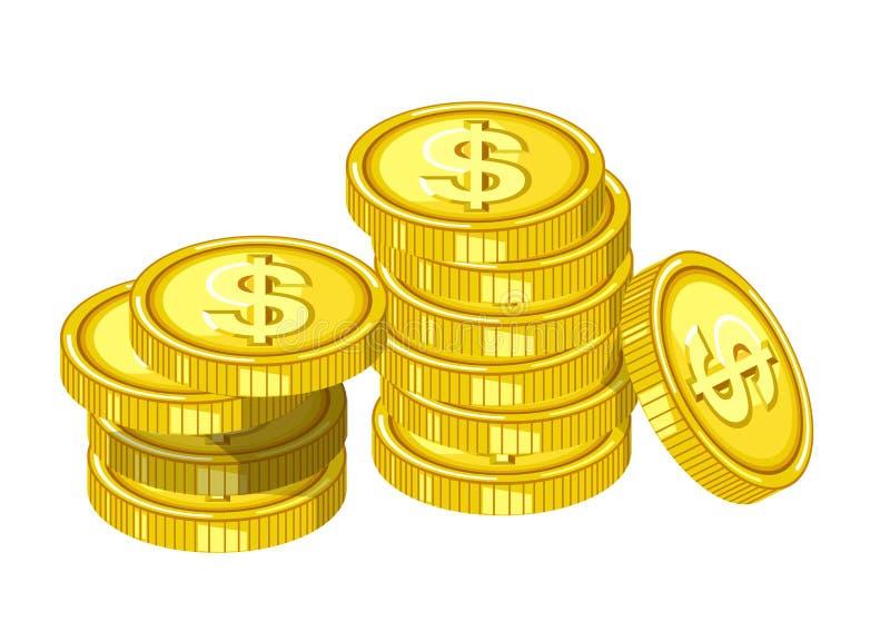 Błyszczące złociste monety z grawerującymi dolarowymi znakami opuszczają od above w stos odizolowywającej kreskówki płaskiej wekt royalty ilustracja