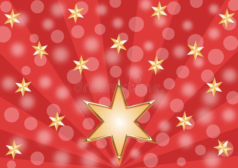 Błyszczące złote gwiazdy na czerwonym promienia wzorze royalty ilustracja