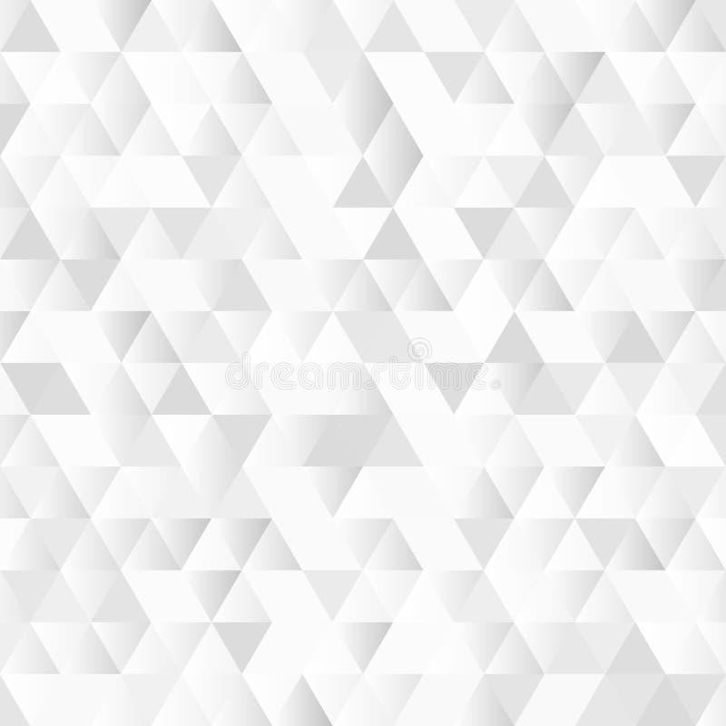 Błyszczącego Geometrycznego trójboka wzoru Biały tło z mozaika skutkiem royalty ilustracja