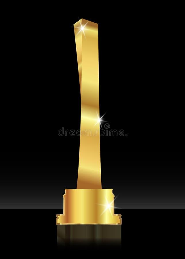 Błyszczącego trofeum abstrakcjonistyczna złota 3D ikona Złoto barwiony drapacz chmur Sport nagroda lub biznes nagród ilustracja, ilustracji