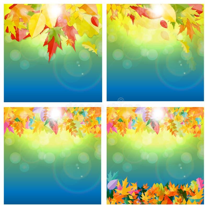 Błyszczącej jesieni liści tła Naturalny set również zwrócić corel ilustracji wektora royalty ilustracja