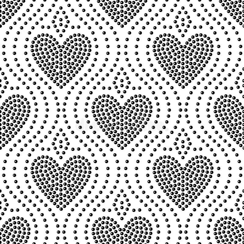 Błyszczącej kropki sztuki czarny i biały kierowy bezszwowy wzór, wektor ilustracji