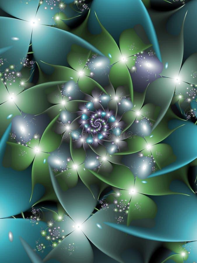 Błyszczący Błękitni i Zieleni kwiaty ilustracji